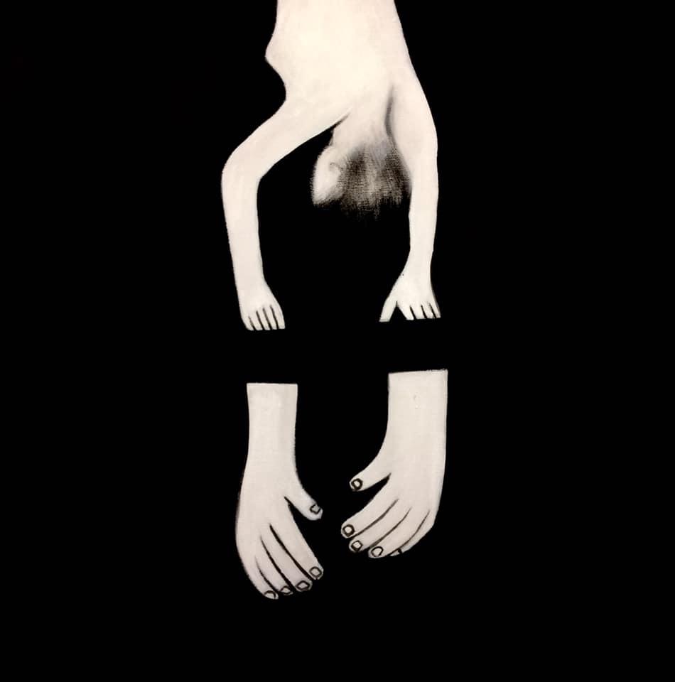 Sogno Capovolto, tecnica mista su tela, 40x40 cm, 2019