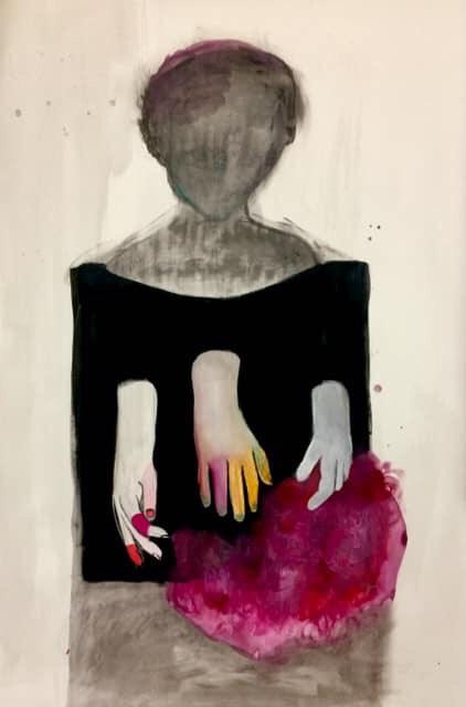Il Fuoco fra le Mani, tecnica mista su carta, 100 x 70 cm, 2019