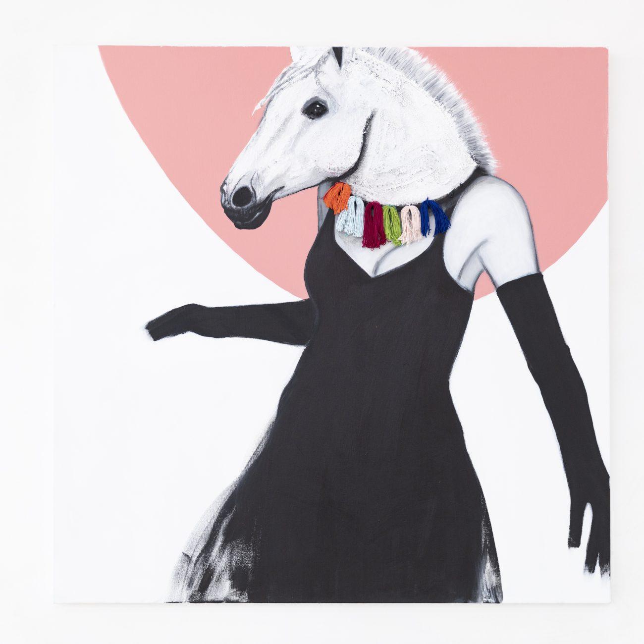 Cavallo in Maschera, tecnica mista su tela, 100x100 cm, 2019